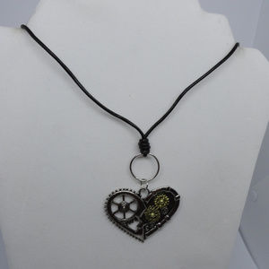 "19-21.5"" Steampunk Pendant on Black Leather Cord"